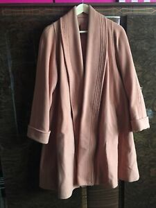 Ladies Womens Vintage Retro Salmon Pink Swagger Wool Trapeze Swing Coat 50s 40s