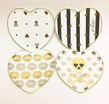 SET OF 4 CERAMIC BETSEY JOHNSON HEART SHAPE,LIPS,SKULL,STRIPED SALLAD PLATE+BOX