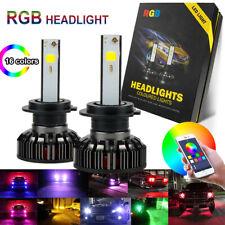 2X 9012 RGB  Car LED Headlight Driving Fog Bulbs Ballast Hi/Low Kit APP Control