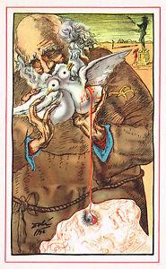 1940s Vintage Salvador Dali Old Man Dove Bird Surrealist Fantasy Art Print