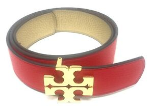 Tory Burch Women's Reversible Logo Leather Belt - Brilliant Red/Gold