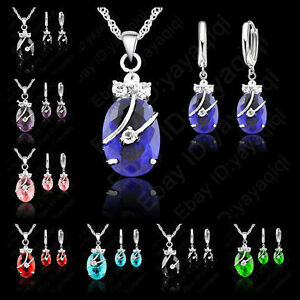 Lady Woman Party Jewelry Set Crystal And Flower CZ Crystal Earring Neckalce Sets