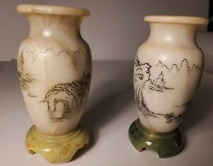 2 Vintage Chinese Carved Soap Stone Vases with Signed Etchings.