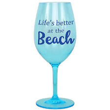 """Life's better at the beach"" Shatterproof Acrylic Wine Glass - 20583B"