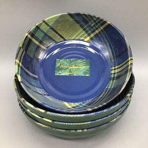 x4 Tommy Bahama Tartan Plaid Melamine Bowl Set Blue Green Winter Holiday Xmas