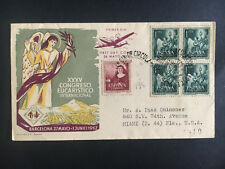 1952 Barcelona Spain First Day Cover to Usa 35th Eucharistic Congress