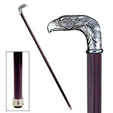 Italian Pewter Ornate Polished Hand Crafte Eagle Head Walking Stick Cane New