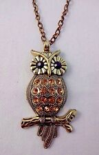 Owl necklace antiqued gold-tone crystals cable chain slip on