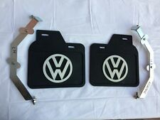 VW BUG MUD FLAPS PAIR BLACK WITH BRACKETS 1967 ON FITS ALL BEETLE