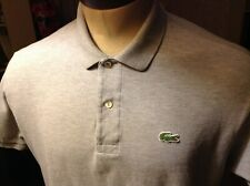 LACOSTE L CLASSIC FIT HEATHER GRAY 2 BUTTON CROC POLO SQUARE HEM COTTON MINTY
