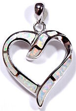 Beautiful White Fire Opal Inlay 925 Sterling Silver Heart Pendant For Necklace