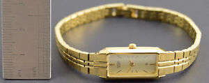 Vintage WORKING Citizen 5421-S18523 Gold Plated Rectangular Quartz Ladies Watch
