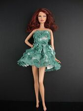 Green Mini Dress Covered in Roses For Barbie Doll