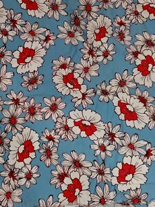 """True vintage mid-century sewing fabric cotton large floral print BTY x 54"""" wide"""