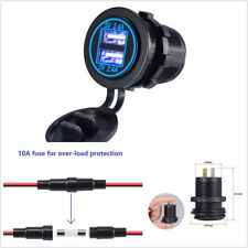 Universal 12-24V Car SUV 2USB Charger Socket Blue LED With Wire In-line 10A Fuse