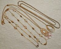 VINTAGE TO NOW ASSORTED PINK LUCITE PENDANT BEADED GOLD TONE CHAIN NECKLACE LOT
