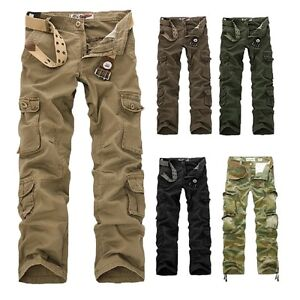 ARMY CARGO CAMO COMBAT MILITARY MENS TROUSERS PANTS CAMOUFLAGE SLACKS CASUAL