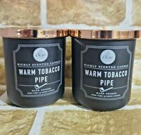 2. DW Home Candle WARM TOBACCO PIPE 33 Hours 1 wick 9.2 oz each New!