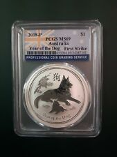 2018 Australia 1 oz 9999 Silver Year of the Dog - PCGS MS 69 - FIRST STRIKE !!