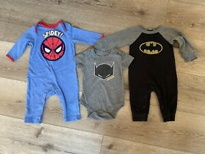 BABY BOYS CLOTHES SUPERHEROES OUTFITS BATMAN SPIDERMAN MARVEL SIZE 3-6 MONTHS