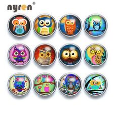 12pcs/lot 12mm Snap Button Mixed Pattern Glass Snap Charms Fit 12mm Snap Jewelry