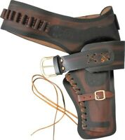 """Denix Brown Leather Single Right Draw Holster For Revolver Pistols Large 40-44"""""""