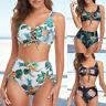 Two Piece Womens Floral Bikini Set Crop Tops High Waisted Swimwears Swimsuit.