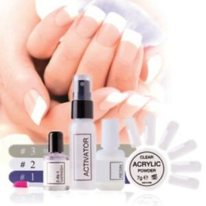 Rio Quick Dip Acrylic Nail Gel Starter Set Kit inc Tips Liquid Powder Brushes