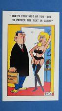 Risque Comic Postcard 1960s Big Boobs Panties Knickers Nylons Stockings Rent Man