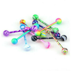10PCS Colorful Steel Bar Tongue Rings Body Piercing Jewelry Tounge Bars Summer