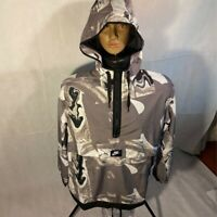 Nike Womens Active Jacket Gray Marble Print Hooded 1/2 Zip Lined M New 908766039