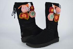 NIB! $295 Womens Ugg Crochet Classic 1095270 Black Flower Knit Boots sz 7-9