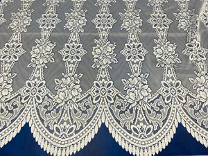 Scalloped Bottom Lace NET CURTAIN ,COL :WHITE,THICK LACE, ALL SIZE, SOLD BY Mts,