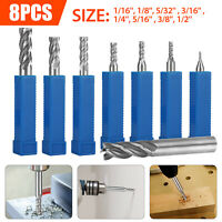 8Pc Solid Milling Carbide End Cutter Drill Bit 1/16-1/2 4Flute HSS Slot Tool Set