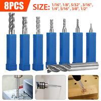 "8Pcs Solid Milling End Cutter Drill Bits 1/16""-1/2"" 4 Flute HSS Slot Tool Set"