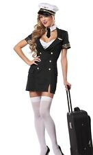 LADIES SEXY AIR HOSTESS STEWARDESS PILOT HEN DOO FANCY DRESS PARTY OUTFIT