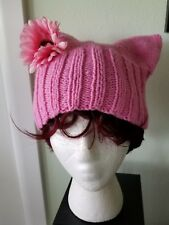 Pussy Hat Pink Hand Knit Silk Flower Soft Cotton Blend Size L- XL Protest March