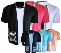 Ladies Twinset Striped Embroidered Short Sleeve Knitted Cardigan Jumpers S to XL