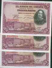 New listing Spain 50 Ptas 1928 Unc. One Note From Consecutive Bundle. Scarce. 2Dg 30Des4b