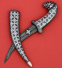 "9"" Knife Dagger Silver Inlay Work Damascus Blade Mughal Indo Persian Ottoman"