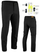 Men's Kevlar® Lined Motorcycle Chinos Stretch Jeans Black optional CE Armour