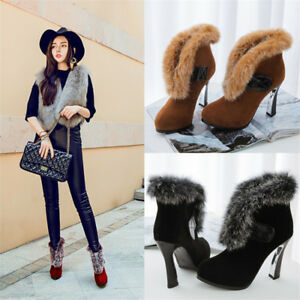 Fashion Women Ankle Boots Winter Warm Fluff High Heels Casual Shoes Slip on