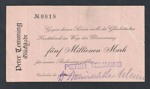 Glückstadt - Peter Temming - 5 Millionen Mark - bis 1.10.1923