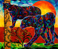PRIMAL DANCE Original 20x24 BLACK LEOPARD Art Painting on canvas Sherry Shipley