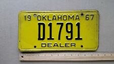 License Plate, Oklahoma, 1967, Dealer, D 1791