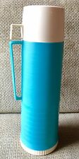 Vintage Blue Thermos bottle plastic body glass filler 10 ounce