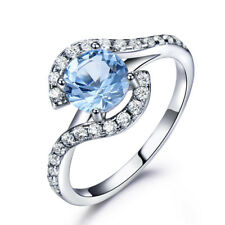 Real 925 Sterling Silver Created Sky Blue Topaz Gemstone Ring For Women