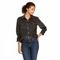 Universal Thread Women's Long Sleeve Corduroy Button-Down Western Shirt Size S-L