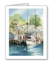 FISHING BOAT Set of 10 Note Cards With Envelopes