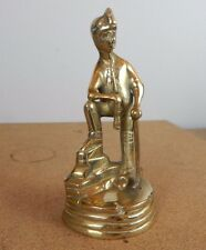 vintage Solid Brass Coal miner  Statue with pick axe 16cm  tall.